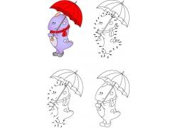 打雨伞的卡通恐龙简笔画图片