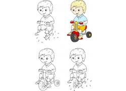 骑自行车的卡通男孩漫画图片