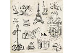 巴黎旅游素描插画