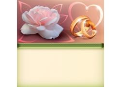 卡通鲜花与结婚对戒