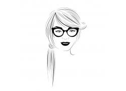 戴眼镜的女孩速写图片