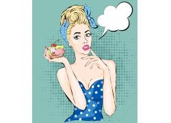 捧着冰淇淋蛋糕的美女插画
