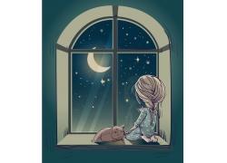 坐在窗台的卡通女孩图片