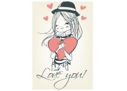 抱着爱心的卡通女孩图片