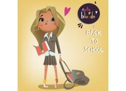 拖着书包的卡通女孩图片