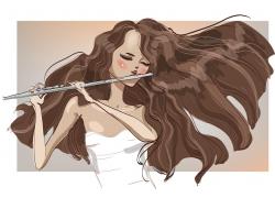 吹笛子的卡通美女插画图片