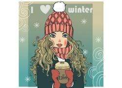 捧着咖啡的卡通女孩图片