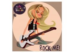 卡通女孩吉他手图片