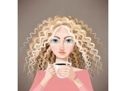 卷发女孩插画图片