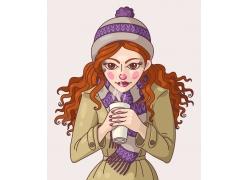 捧着咖啡的卡通女孩插画图片