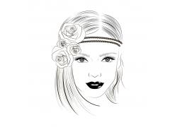 头戴花朵的女孩速写图片