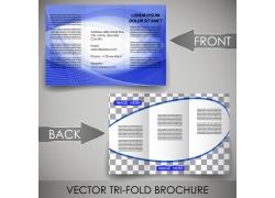 蓝色商务曲线三折页图片