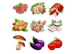卡通蔬菜肉类插画图片