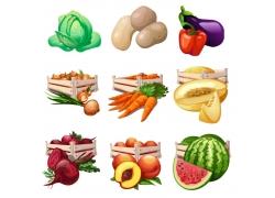 卡通水果蔬菜插画图片
