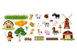 农场房屋和动物图片