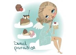 捧着蛋糕的卡通女孩