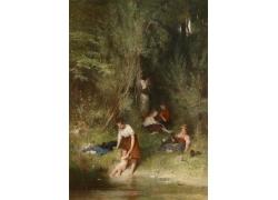 河边的女孩油画图片
