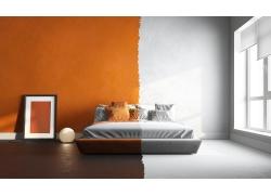 彩色颜料和双人床
