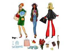 提着包的时尚美女插画图片
