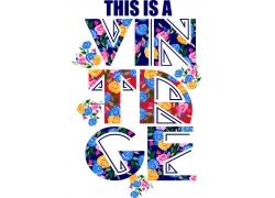 英文艺术字T恤印花设计