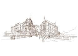 欧洲城市素描插画