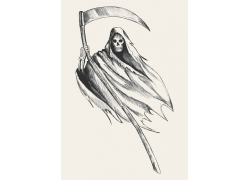 拿着镰刀的死神素描