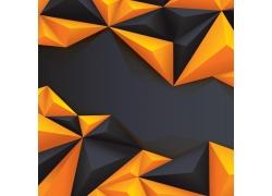 橙色黑色立体三角形背景