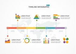 彩色商务表柱信息图表