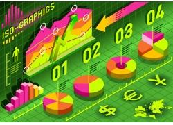 彩色商务图表饼形信息图表