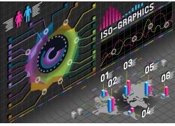 彩色圆环立柱信息图表