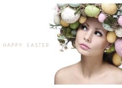 穿复活节彩蛋的女人