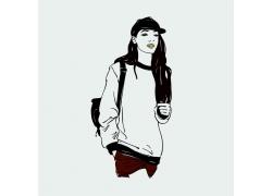 时尚女孩漫画图片