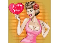 拿着爱心的性感美女插画图片
