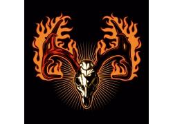鹿角头骨徽标设计