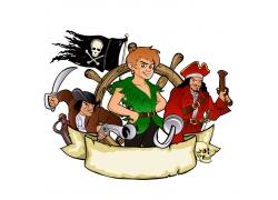 卡通海盗徽标设计
