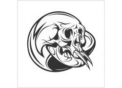 獠牙骷髅图案T恤印花