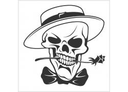 含着的玫瑰花的骷髅T恤印花图