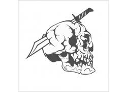 骷髅插刀T恤印花