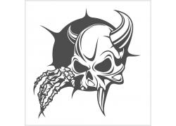 长角的骷髅T恤印花