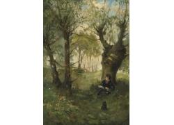 树下看书的男孩图片