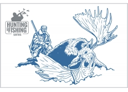 猎人与猎物插画图片