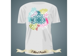 水彩墨迹T恤印花设计