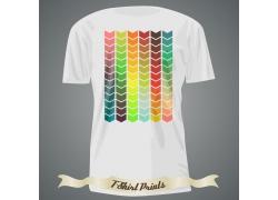 彩色箭头T恤印花设计