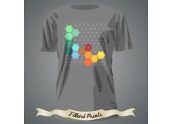 六边形网格T恤印花设计