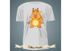 卡通松鼠T恤印花设计
