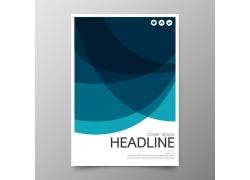 蓝色商务曲线画册封面图片
