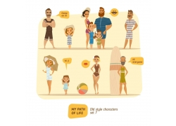 海滩玩耍的家庭人物图片