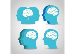 卡通蓝色大脑