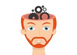 卡通大脑齿轮
