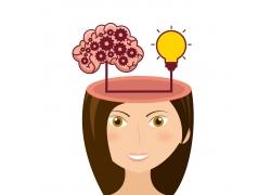 卡通美女大脑思维